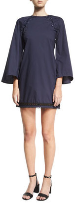 Derek Lam 10 Crosby Bell-Sleeve A-Line Dress w/ Lacing $395 thestylecure.com