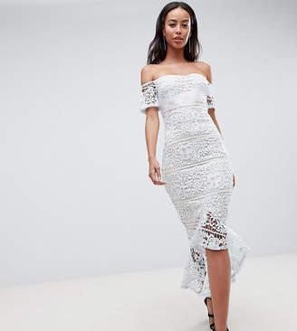 Missguided Tall Lace Bardot Fishtail Midi Dress
