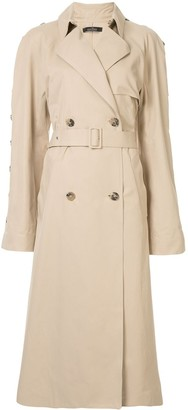 Rokh button sleeve trench coat