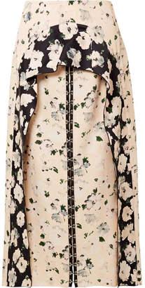 Proenza Schouler Layered Floral-print Satin-crepe Midi Skirt - Off-white