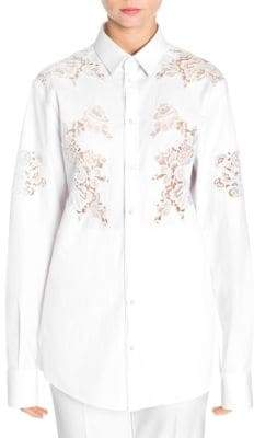 Dolce & Gabbana Lace Inset Button-Down Poplin Shirt
