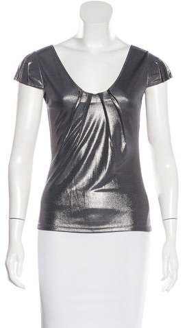 Christian Dior Metallic Short Sleeve Top