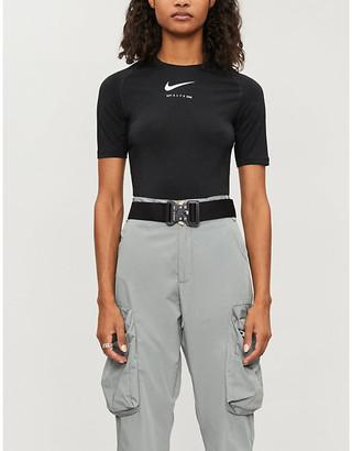 Alyx x Nike glitter long-sleeved stretch-jersey top