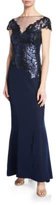 Tadashi Shoji Sequin-Pattern Boat-Neck Illusion Cap-Sleeve Crepe Gown