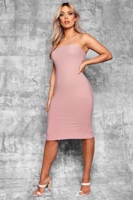 boohoo Plus Bandeau Fitted Midi Dress