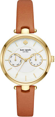 Kate Spade Holland chronograph gold-tone brown leather watch