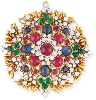 Hays Worthington 18K Gold Ruby & Sapphire Cabochon Pendant/Pin with Diamonds