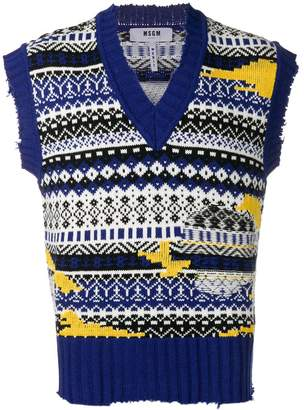 MSGM fair isle sleeveless sweater