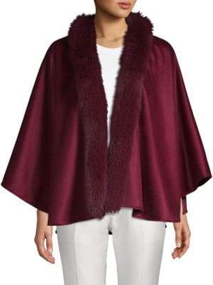 Sofia Cashmere Dyed Fox Fur-Trimmed Cashmere Cape