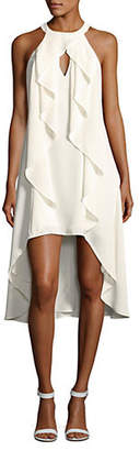 Halston H Hi-Lo Ruffle Front Dress