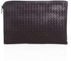 Bottega Veneta Men's Leather Portfolio - Dark Grey