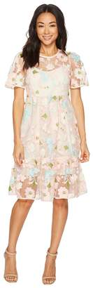 Donna Morgan Floral Embroidered Midi Dress with Short Split Sleeve Women's Dress