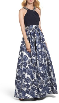 Women's Eliza J Embellished Floral Jacquard Fit & Flare Gown $268 thestylecure.com