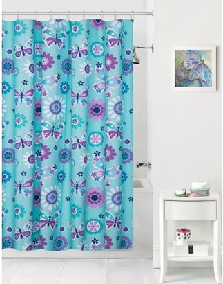 Mainstays Kids Butterfly Floral Coordinating Fabric Shower Curtain