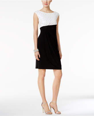 Connected Sequined Lace Faux-Wrap Dress $79 thestylecure.com