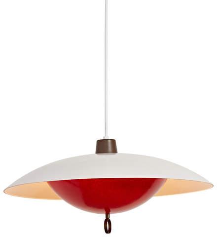 Rejuvenation Large Red & White Fiberglass Nested Dome Pendant