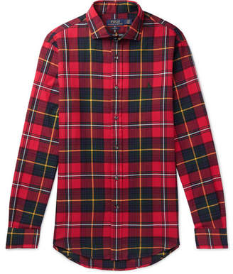 Polo Ralph Lauren Slim-fit Checked Brushed-cotton Shirt - Red