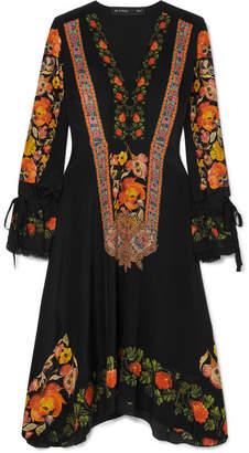 Etro Crochet-trimmed Printed Silk Crepe De Chine Dress - Black