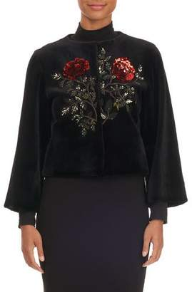 Oscar de la Renta Rose-Sequined Mink Fur Bolero Jacket