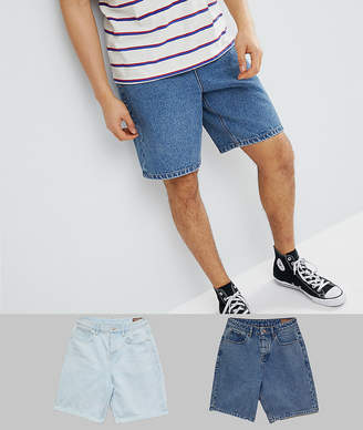 Asos DESIGN Denim Shorts In Skater Fit In Mid Wash Blue And Light Wash Blue
