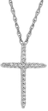 Lord & Taylor 14Kt. White Gold Diamond Cross Pendant Necklace