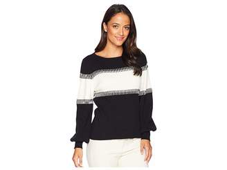 Vince Camuto Specialty Size Petite Long Sleeve Color Blocked Intasia Sweater