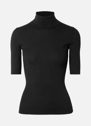 Theory Leenda Ribbed Merino Wool Turtleneck Top - Black