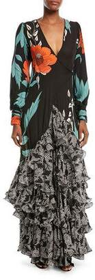 Johanna Ortiz Jade Long-Sleeve Wrap Silk Gown with Tiered Flamingo Hem