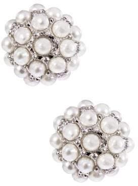 Lord & Taylor Pearl Stone Stud Earrings