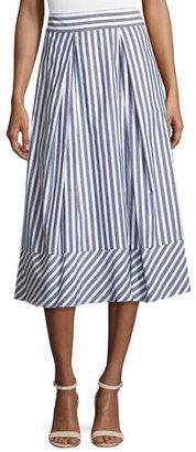 Milly Pleated Striped Poplin Midi Skirt, Multi $375 thestylecure.com