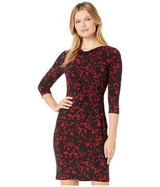Lauren Ralph Lauren Printed Matte Jersey Trava 3/4 Sleeve Day Dress