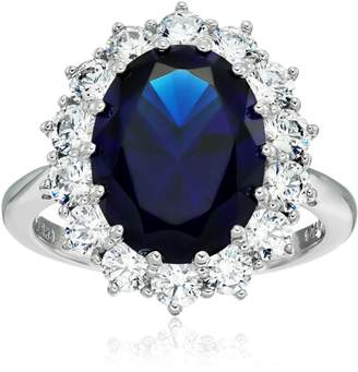 "Swarovski Amazon Collection Platinum Plated Sterling Silver Celebrity ""Kate"" Ring made with Zirconia Accents, Size 8"