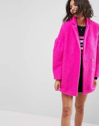 Asos DESIGN Textured Coat with Puff Sleeve