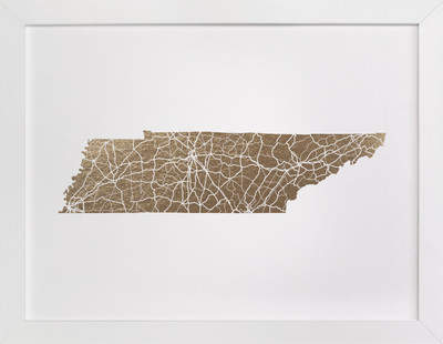 Tennessee Map Foil-Pressed Art Print