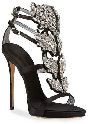 Giuseppe Zanotti Satin Wing Jeweled Sandals