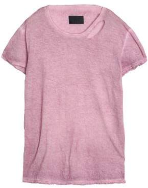 RtA Distressed Cutout Cotton And Cashmere-Blend Jersey T-Shirt