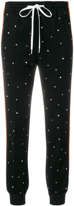 crystal embellished track pants