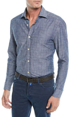 Kiton Men's Box-Print Chambray Sport Shirt