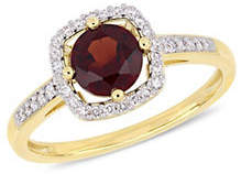 HBC CONCERTO 10K Yellow Gold and Garnet Halo Birthstone Ring with 0.14 TCW Diamond