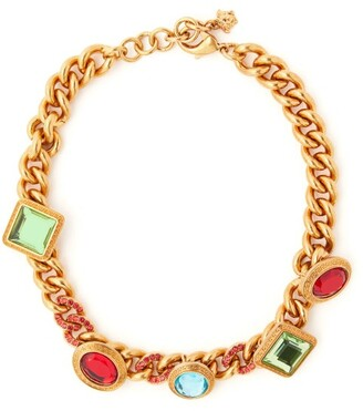 Versace Crystal Embellished Chain Necklace - Womens - Multi
