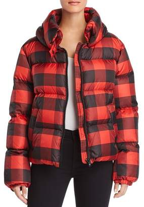 KENDALL + KYLIE Oversized Plaid Puffer Coat