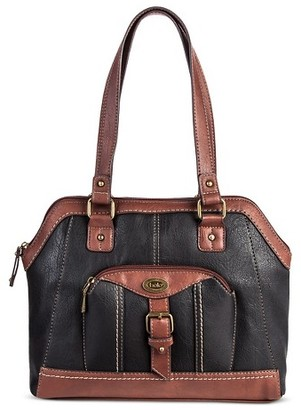 Bolo Women's Faux Leather Satchel Handbag with Front/Back/Interior Compartments and Zipper Closure - Black/Walnut $39.99 thestylecure.com