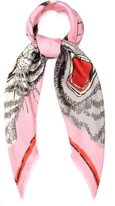 Gucci Tiger Face-print silk-twill scarf