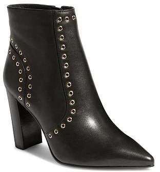 Karen Millen Women's Eyelet Pointed Toe Leather Stacked Heel Boots