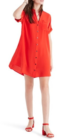 Women's Madewell Button Down Silk Shirtdress