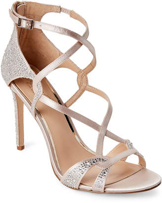 Badgley Mischka Cream Alizaii Jeweled Satin High Heel Dress Sandals