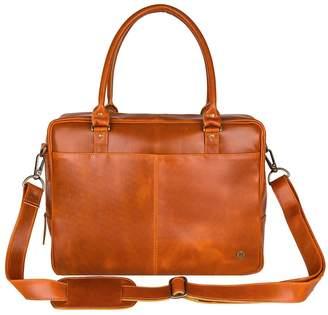 Buffalo David Bitton Mahi Leather Leather Oxford Zip-Up Satchel Briefcase Bag In Tan