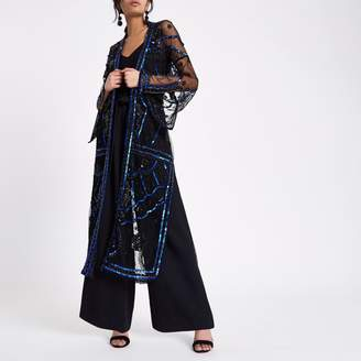 River Island Womens Black embellished maxi kimono