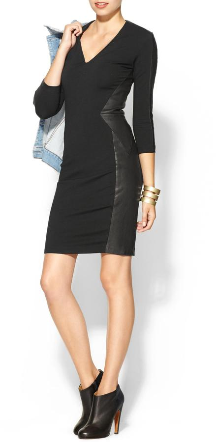 Haute Hippie Ponte Leather Dress