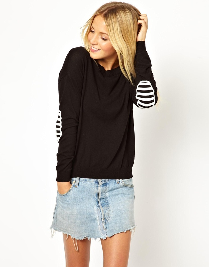 Asos Sweater With Striped Elbow Patches